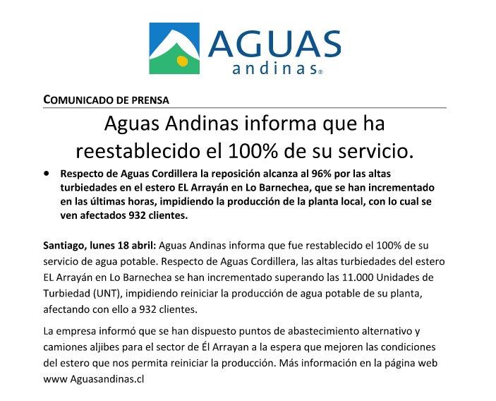 AGUAS ANDINAS ANUNCIA EL RESTABLECIMIENTO DE LA TOTALIDAD DE SU ...