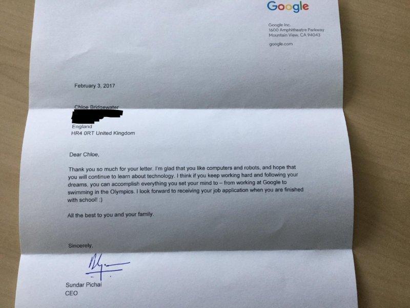 Esta niña pidió empleo en Google y así le respondieron