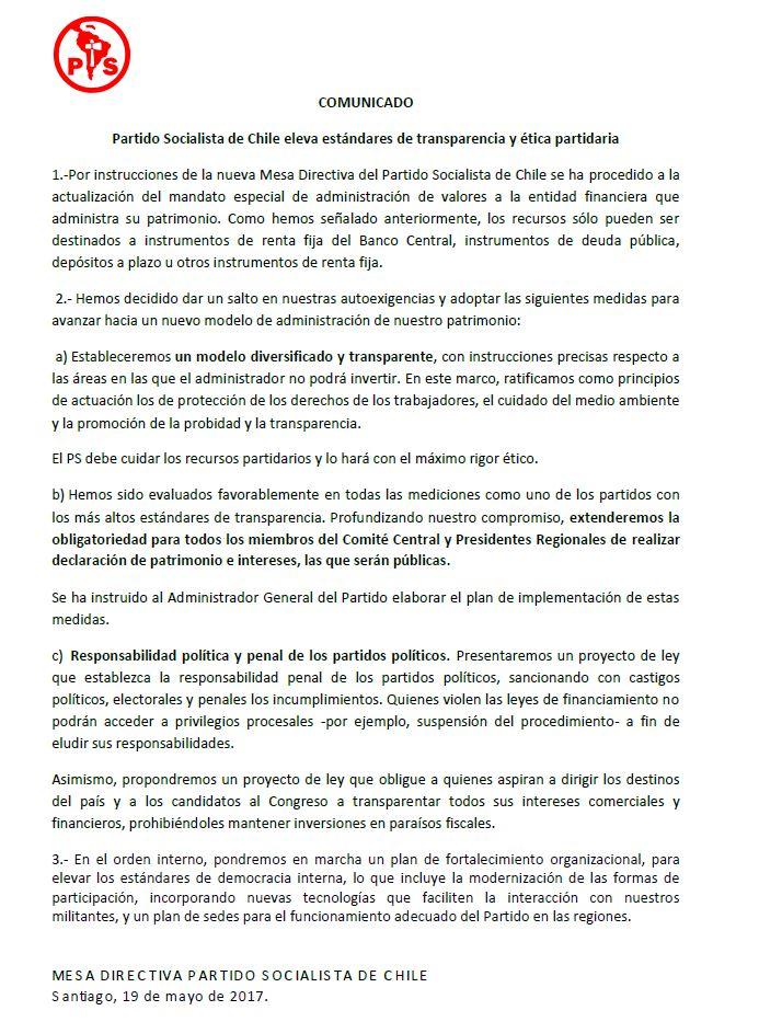 PS anuncia medidas para elevar trasparencia y ética tras reportaje de Ahora Noticias