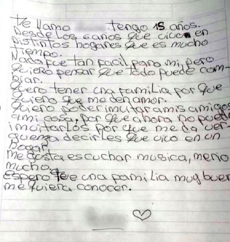 Emocionante: una adolescente escribió una carta pidiendo que la adopten