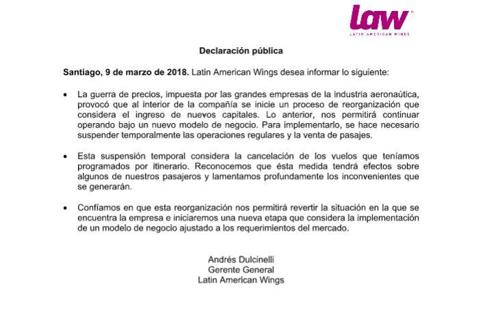 Chile suspende permiso operativo a aerolínea LAW