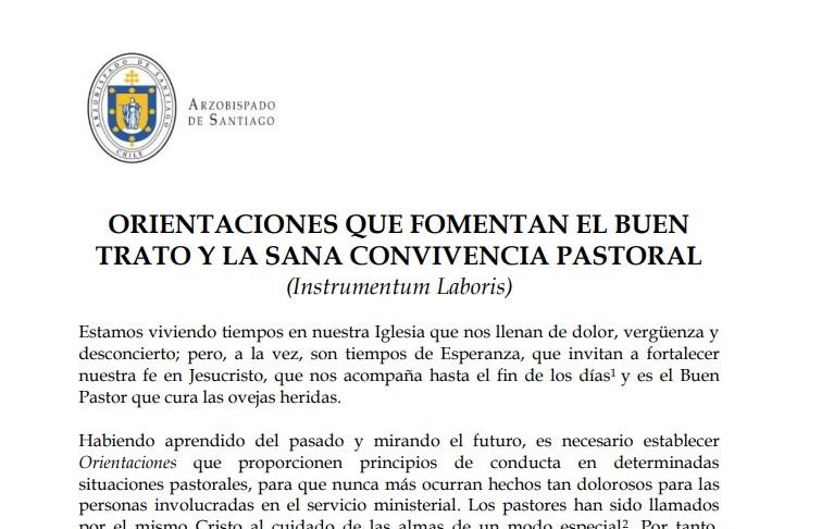 Este era el documento presentado por el Arzobispado de Santiago
