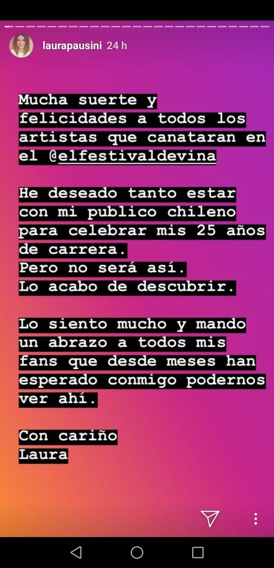 Mensaje de Pausini en Instagram