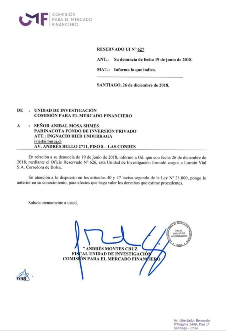 Documento de la CMF por cargos contra Larraín Vial