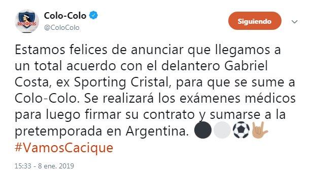 Colo Colo confirmó la llegada de Gabriel Costa a club chileno