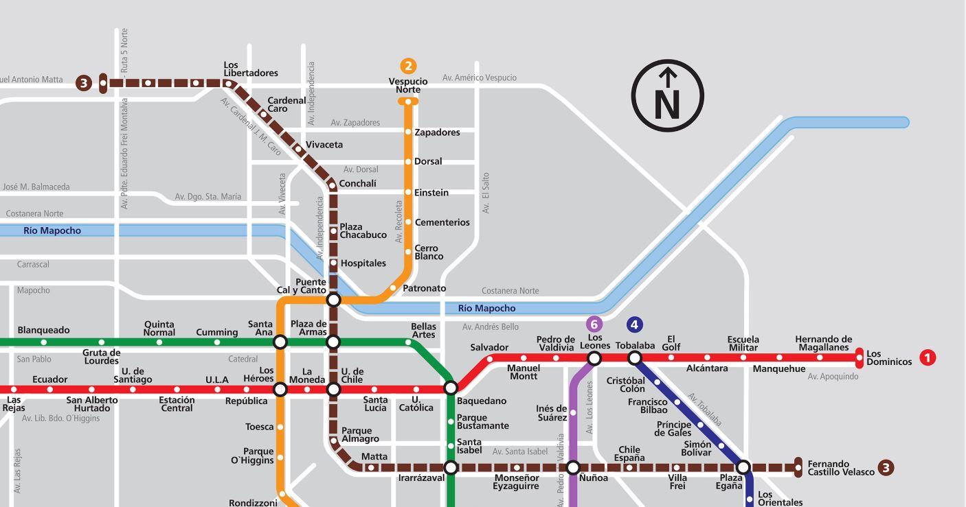 Mapa metro santiago 2019