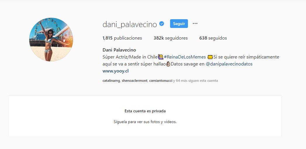 Daniela Palavecino y su Instagram bloqueado