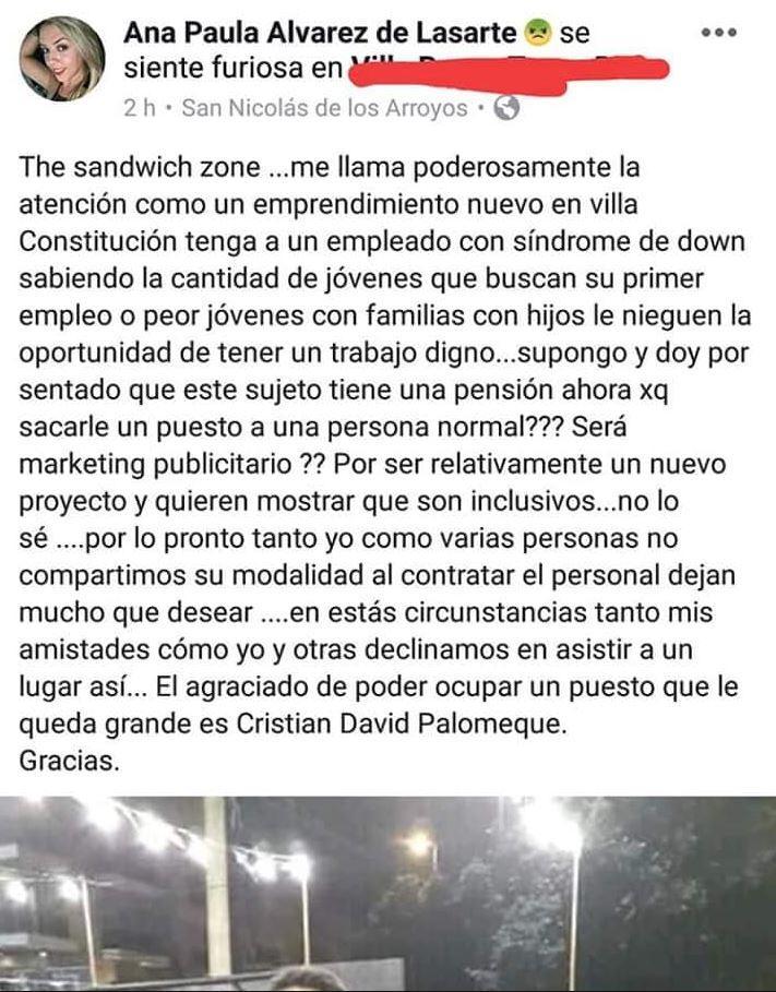 Santa Fe: protestó porque la atendió un empleado con síndrome de Down