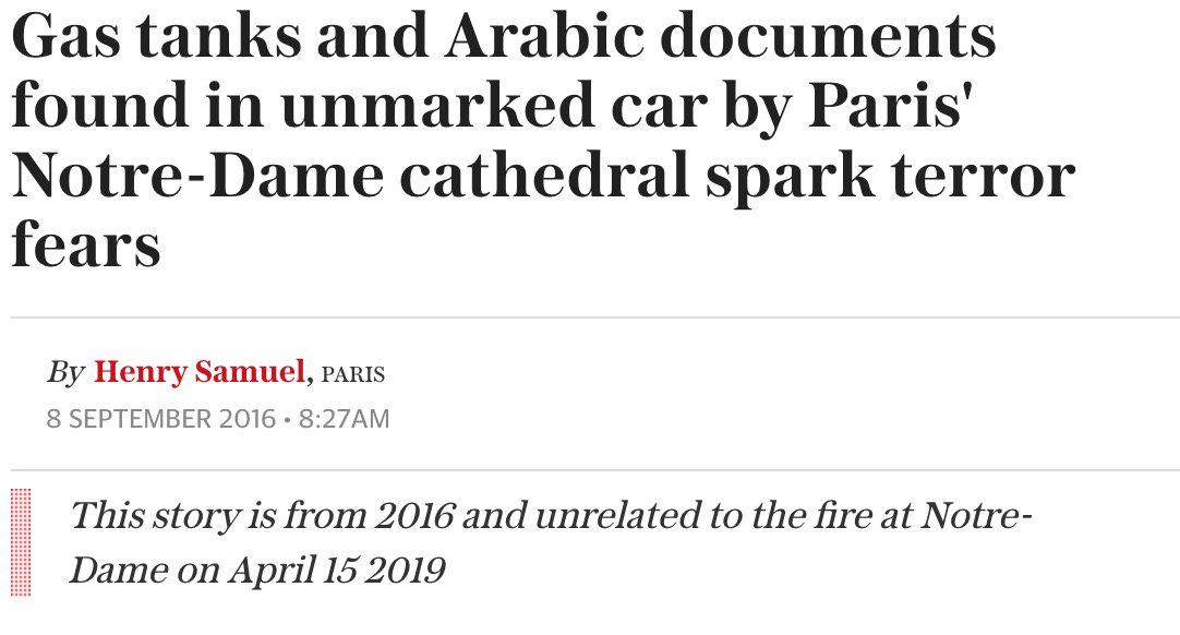 Artículo de Telegraph desmintiendo una supuesta bomba en Notre Dame