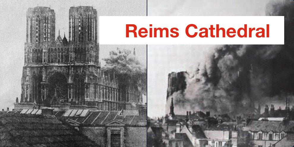 Imagen del incendio de la Catedral de Reims