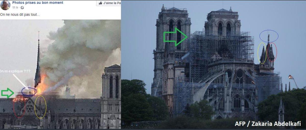 Comparativo que desmiente un hombre cerca del incendio de Notre Dame